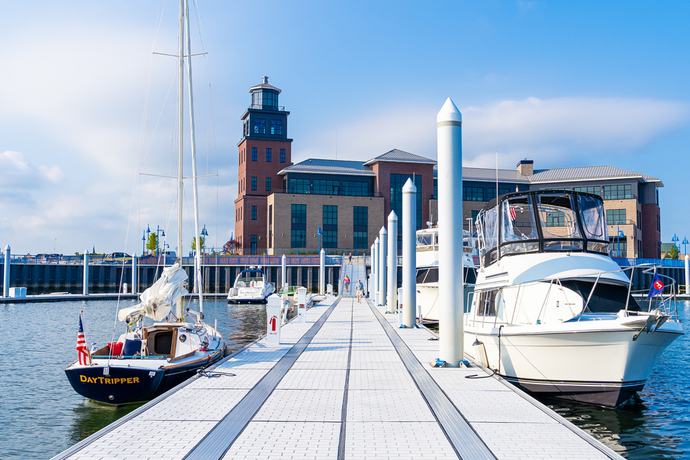 Bridgeport, Connecticut's waterfront features a new marina with 200 slips for yachts as long as 300 feet.